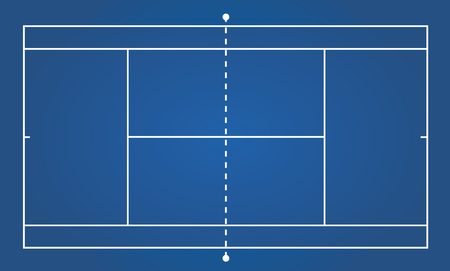 concrete court: Top view ofBlue clay tennis court, sport background - Vector illustration