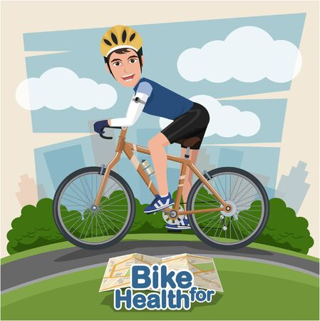 pump shoe: Smiling cartoon man riding on a bike with Park Background . sport and exercise