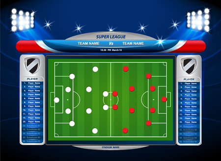 playing field: soccer playing field with statistics elements. Vector illustration.