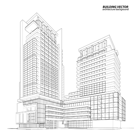 Abstract 3D Wireframe of Building. My Sketch Design Illustration