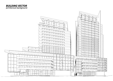 condominium: Abstract 3D Wireframe of Building. My Sketch Design Illustration