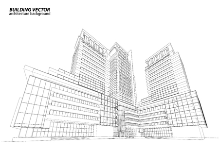 architecture design: Abstract 3D Wireframe of Building. My Sketch Design Illustration