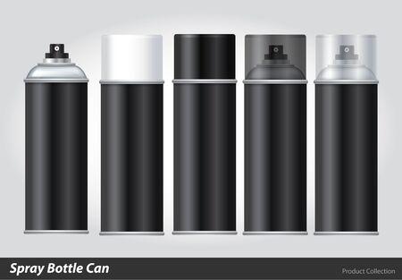 paint can: Spray Metal 3D Bottle Can: Paint, Graffiti. Illustration