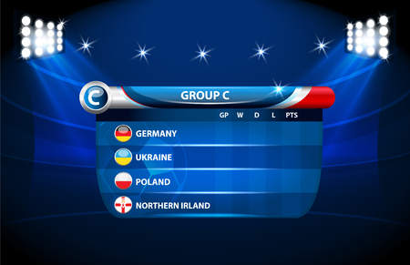 European football championship 2016 in France groups c. vector