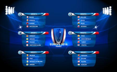 European football championship 2016 in France groups vector Illustration