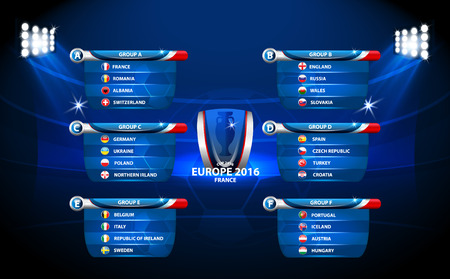 football european championship: European football championship 2016 in France groups vector Illustration