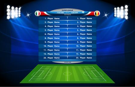 football field: Vector info graphic football field statistics. Illustration