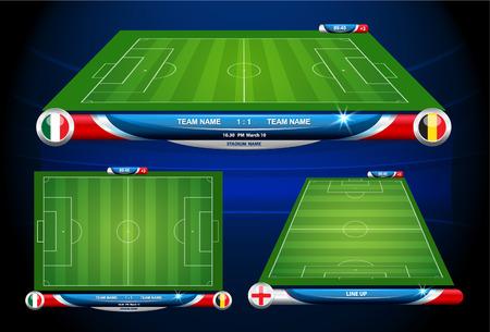 terrain de foot: football terrain de jeu avec des statistiques éléments. Vector illustration.