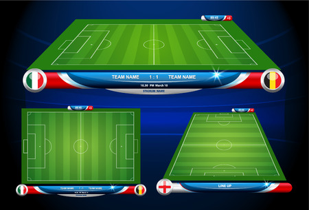football field: soccer playing field with statistics elements. Vector illustration.