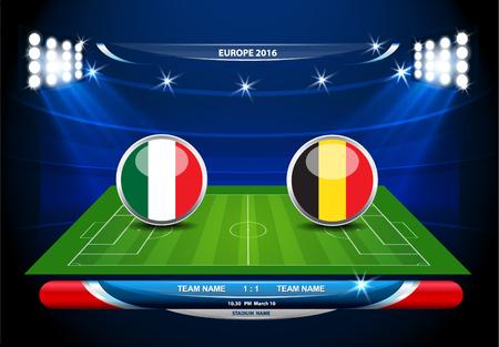 Fußball-Spielfeld mit Statistiken Elemente. Vektor-Illustration.