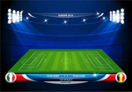 score board: Football or soccer playing field with set of infographic elements. Vector illustration.