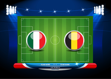 soccer field: soccer playing field with statistics elements. Vector illustration.