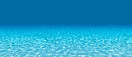 Sandy bottom, blue and surface underwater. 3d render