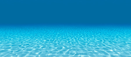 Sandy bottom, blue and surface underwater. 3d render