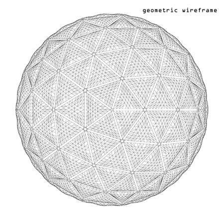 Estructura metálica con malla elemento poligonal. 3d esfera. Ilustración del vector EPS10