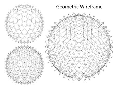 Wireframe mesh polygonal element. Sphere 3d. Vector Illustration EPS10 Vectores