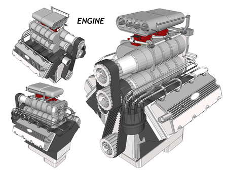 car engine: Car Engine. wireframe