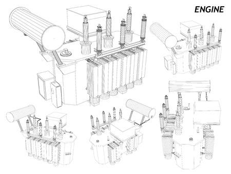 gearbox: Car Engine. wireframe