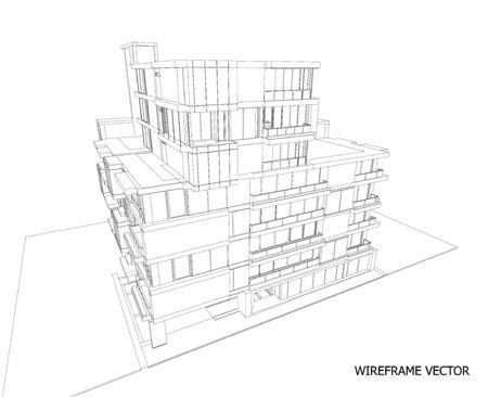3d perspective of building. vector 일러스트