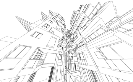 tall: Perspective 3d Wireframe of building