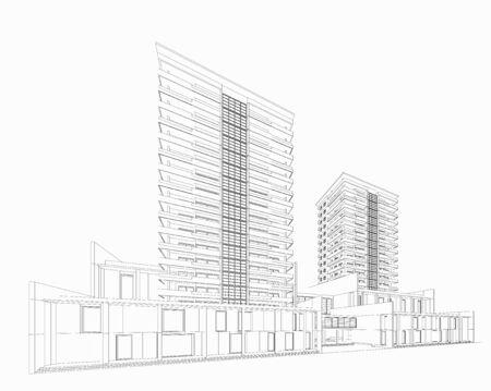 3d perspective of building. vector