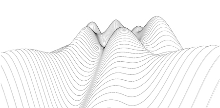 3D wireframe of contour swirl. Abstract wireframe background. vector  イラスト・ベクター素材