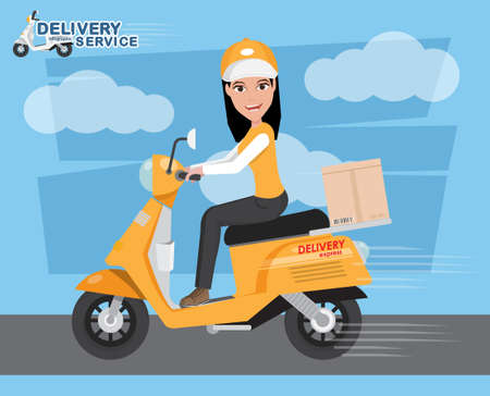 Delivery Girl Ride Scooter Motorcycle Service, Order, Worldwide Shipping, Fast Transport