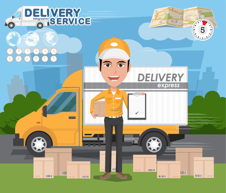 Delivery Concept. Fast delivery van. Delivery man. vector illustration eps10
