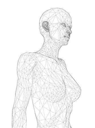 A computer generated rendering of a naked Pregnant woman 3d model with sensor