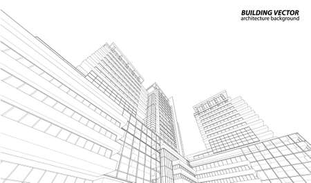 Perspective 3D render of building wireframe Vettoriali