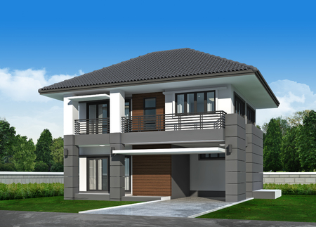 3d Perspective house. render Stock Photo