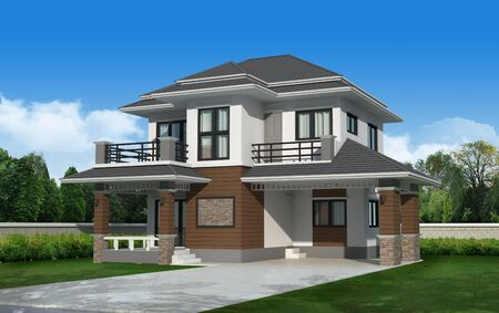 site backgrounds: 3d Perspective house. render Stock Photo