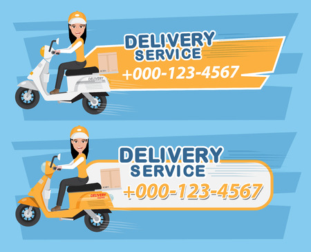 Delivery Girl Rides Motorcycle Service