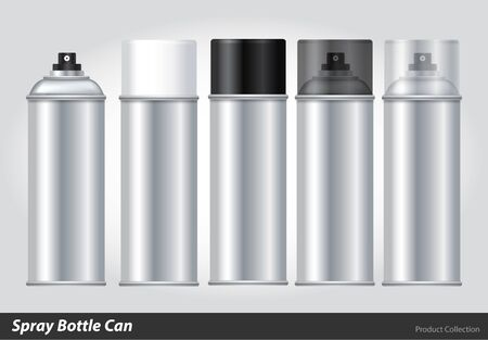 Spray Metal 3D Bottle Can: Paint, Graffiti. Vector EPS10