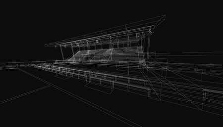 3d wireframe of building. sketch design.Vector