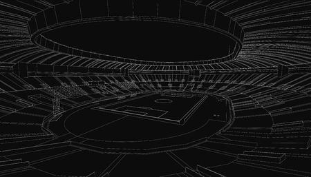 arena: 3D wireframe of stadium or sport arena. Vector Illustration
