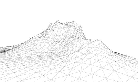Wireframe 3D del ricciolo di contorno. Sfondo astratto wireframe. vettore Vettoriali