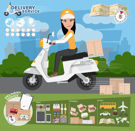 Delivery Concept. Fast delivery van. Delivery Woman. vector illustration