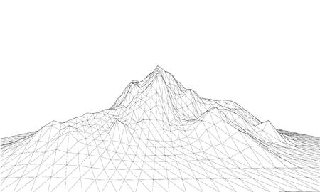 Wireframe 3D Terrain. EPS10 Vector Vettoriali