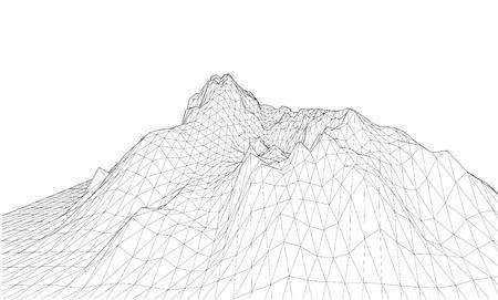 3D Wireframe Terrain. EPS10 Vector