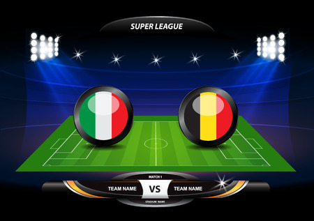 Football or soccer playing field with set of infographic elements. Vector illustration. Imagens - 68183334