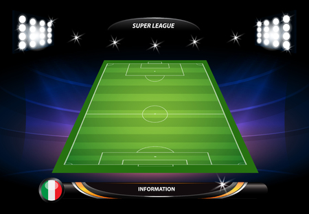 soccer field: Football or soccer playing field with set of infographic elements. Vector illustration.