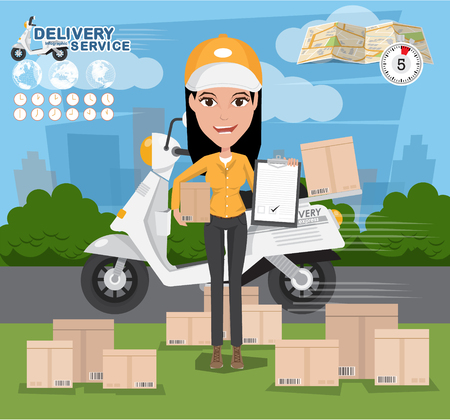 Delivery Concept. Fast delivery van. Delivery Woman. vector illustration eps10