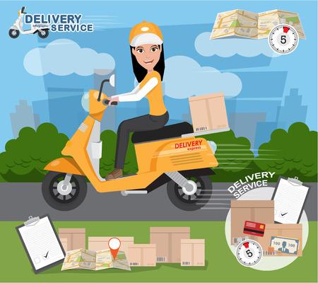 Entrega rápida. Entrega de la muchacha del paseo de taller de motocicleta, Orden, Envío mundial, transporte gratuito. eps10 ilustración vectorial Ilustración de vector