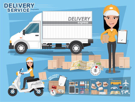 delivery boy: Fast delivery. Delivery Girl Ride Motorcycle Service, Order, Worldwide Shipping, Free Transport. vector illustration eps10