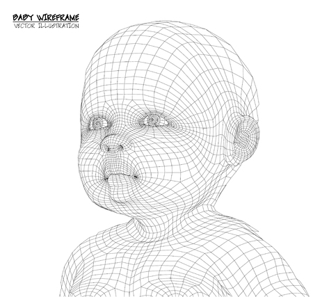 infant: 3d Cute baby. wireframe Illustration