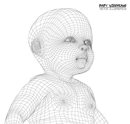 3d Cute baby. wireframe Illustration