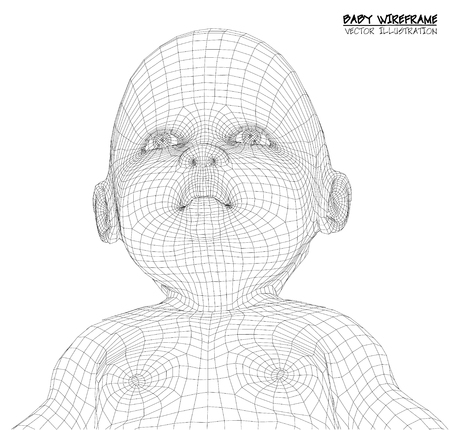 3d Cute baby. wireframe