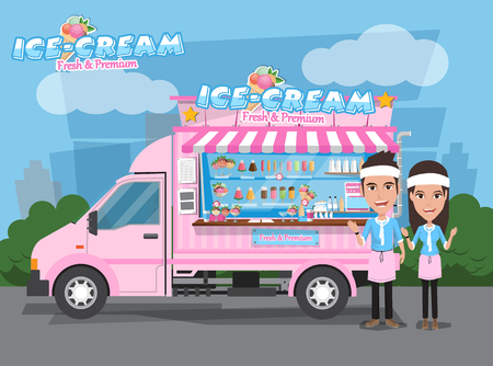 Side view of ice cream van with seller. Design Elements.Vector Illustration