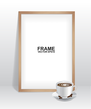 Wood frame with coffee Illustration